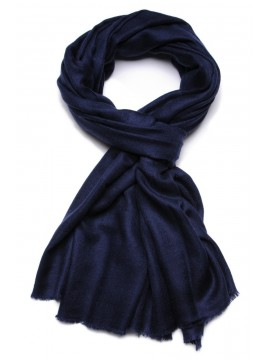 Véritable Pashmina 100% cachemire L'Étole Bleu marine