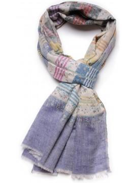 Véritable Pashmina Brodé main 100% cachemire à rayures bleues grises et orange
