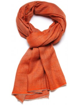 Véritable Pashmina réversible 100% cachemire Orange / Beige naturel