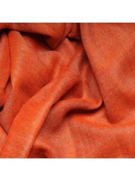 Véritable Pashmina réversible 100% cachemire Orange / Beige naturel