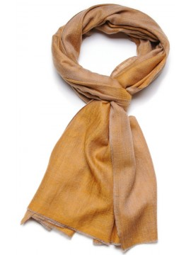 Genuine pashmina 100% cashmere reversible yellow / natural beige