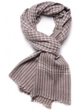 CHECKS MARRONE, siarpa 100% cashmere