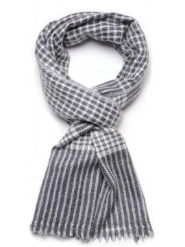 Echarpe pur cachemire carreaux gris et écru petit modèle