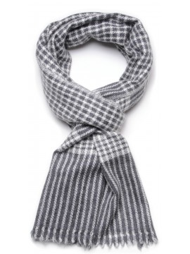 CHECKS 1 GREY, 100% cashmere scarf