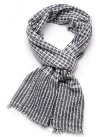 CHECKS 2 GREY, 100% cashmere scarf