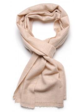 Echarpe pur cachemire petit modèle beige clair naturel tissage twill 2 fils