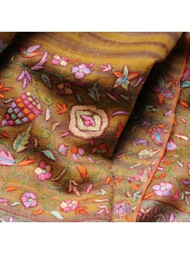 ISIS IKAT YELLOW, real pashmina 100% cashmere natural beige and yellow ikat with handmade embroideries