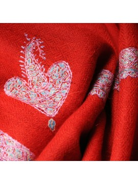 ASHLEY RED, Real embroidered pashmina shawl 100% cashmere
