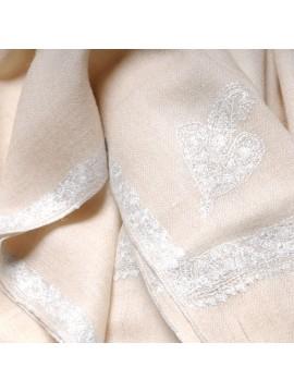 ASHLEY ÉCRU, châle véritable pashmina 100% cachemire brodé main