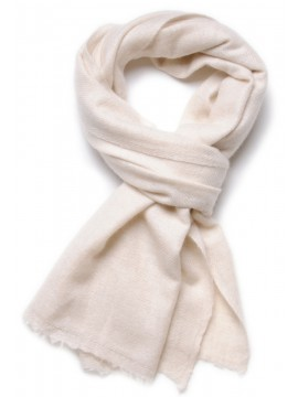 100% cashmere scarf natural off white 2 ply