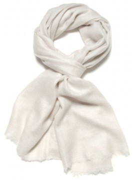Genuine natural chalk white pashmina 100% cashmere