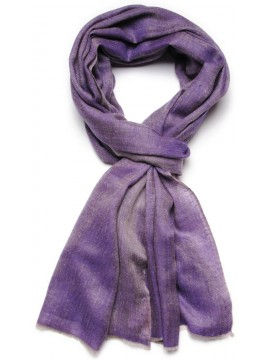 Genuine reversible pashmina 100% cashmere purple/natural beige