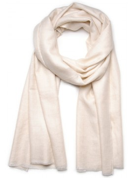 Handwoven cashmere pashmina Shawl Natural ivory