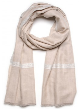 ASHLEY LIGHT BEIGE, Real embroidered pashmina shawl 100% cashmere
