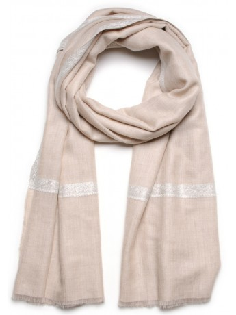 ASHLEY BEIGE CLAIR, châle véritable pashmina 100% cachemire brodé main
