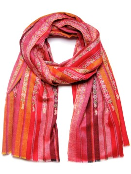 JOSEPHINE RED, real pashmina shawl 100% cashmere with handmade embroideries