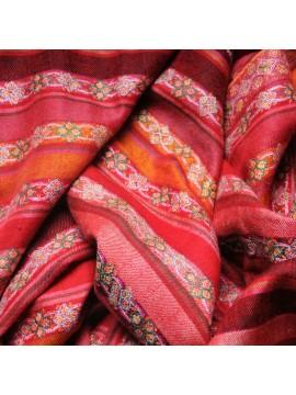 JOSÉPHINE ROUGE, châle véritable pashmina 100% cachemire brodé main rayé rouge grand modèle