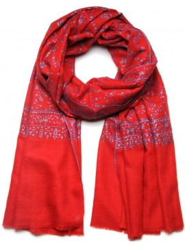 JANET RED, real pashmina shawl 100% cashmere with handmade embroideries
