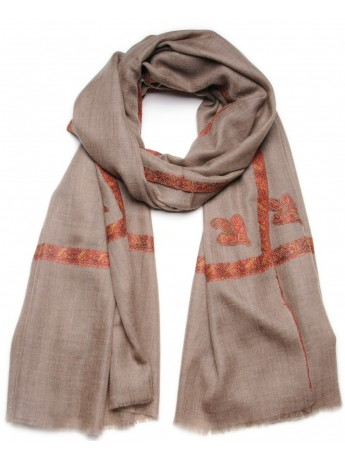 ASHLEY TAUPE, châle véritable pashmina 100% cachemire brodé main