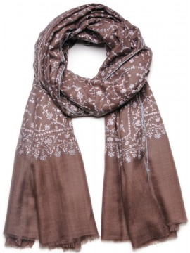 JANE BROWN, Real embroidered pashmina shawl 100% cashmere light grey with full needle work