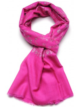 JULIA FUCHSIA, real pashmina 100% cashmere natural with full handmade embroideries