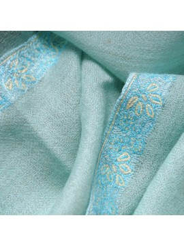 ASHA CELADON, real pashmina 100% cashmere natural beige with handmade embroideries