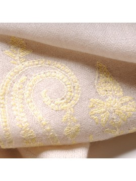 PALLA YELLOW, real pashmina 100% cashmere with full handmade embroideries