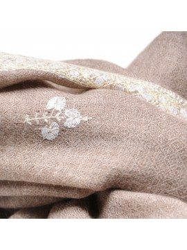 ANNA BEIGE, real pashmina 100% cashmere with full handmade embroideries