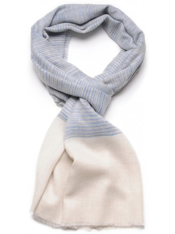 ALEX BLUE, real pashmina 100% cashmere with Ikat stripes