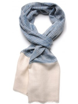 ALEX DENIM, real pashmina 100% cashmere with Ikat stripes