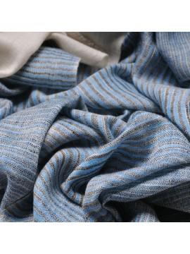ALEX DENIM, real pashmina 100% cashmere with Ikat stripes