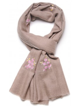 ROSA BEIGE, real pashmina 100% cashmere with full handmade embroideries