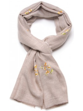ROSA LIGHT BEIGE, real pashmina 100% cashmere with full handmade embroideries
