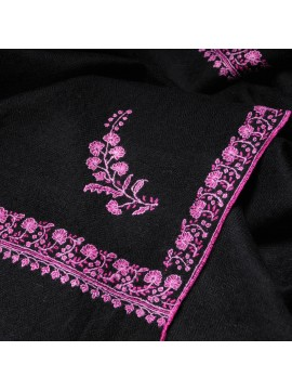 ARIEL BLACK, real pashmina 100% cashmere with handmade embroideries