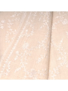 BIANCA IVORY, real pashmina 100% cashmere with full handmade embroideries