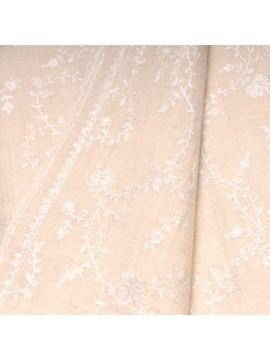 BIANCA IVOIRE, étole véritable Pashmina 100% cachemire brodé main