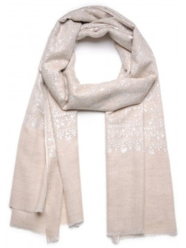 ALBA LIGHT BEIGE, Real embroidered pashmina shawl 100% cashmere