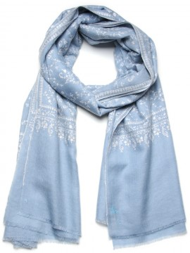 ALBA BLUE, Real embroidered pashmina shawl 100% cashmere