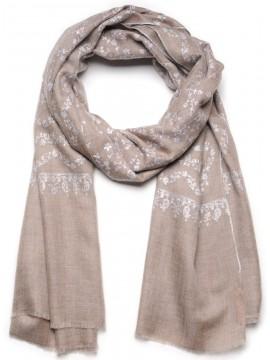 ALBA BEIGE, Real embroidered pashmina shawl 100% cashmere