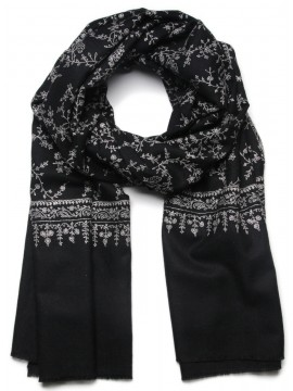ALBA BLACK, Real embroidered pashmina shawl 100% cashmere
