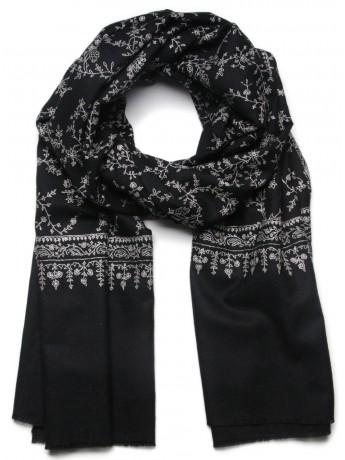 ALBA BLACK, Real embroidered pashmina shawl 100% cashmere