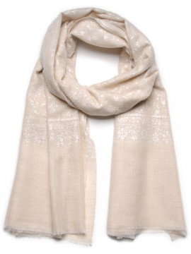 ALBA IVORY, Real embroidered pashmina shawl 100% cashmere