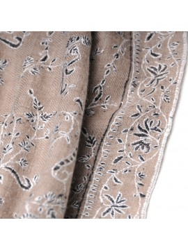 TAÏS BEIGE, Real embroidered pashmina shawl 100% cashmere