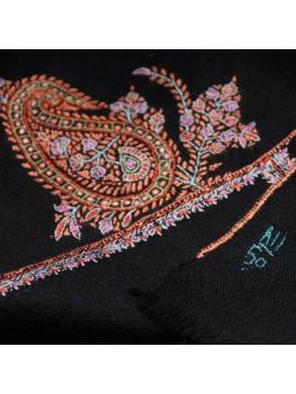 MEG BLACK, Real embroidered pashmina shawl 100% cashmere