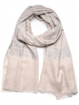 TAÏS LIGHT BEIGE, Real embroidered pashmina shawl 100% cashmere