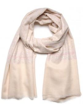TAÏS IVORY, Real embroidered pashmina shawl 100% cashmere