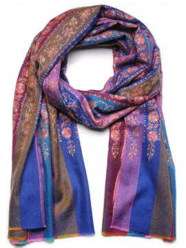 JANIS BLUE, Real embroidered pashmina shawl 100% cashmere