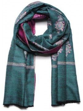 BONNIE GREEN, real embroidered reversible pashmina shawl 100% cashmere