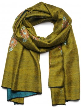 BONNIE YELLOW, real embroidered reversible pashmina shawl 100% cashmere