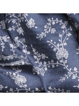 BIANCA GREY, real pashmina 100% cashmere with full handmade embroideries